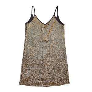 GB Black Gold Sequin Metallic Cocktail Slip Dress